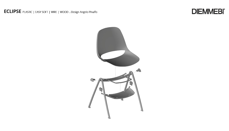 Eclipse Plastic sedia, telaio 4 gambe verniciato bianco ...