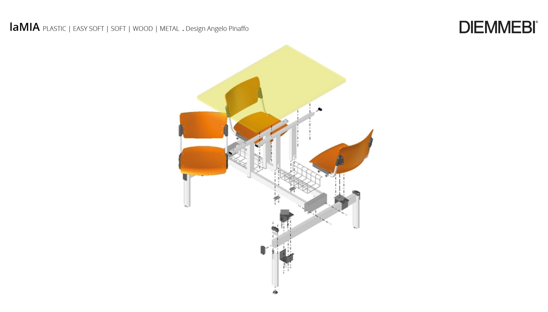 tavolo mensa lamia a 4 posti con telai neri girevoli