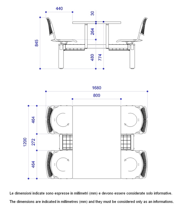 Diemmebi - Misure tavolo 6 posti ...