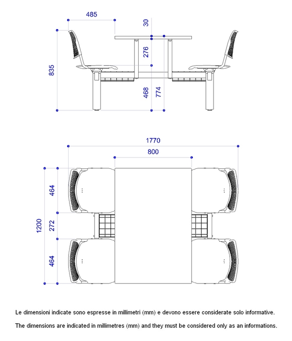tavolo mensa lamia a 4 posti con telai neri fissi sedili