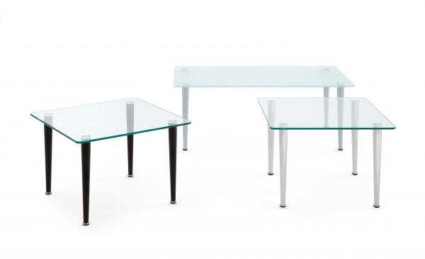 GLASS TABLES WITH CONIC LEGS