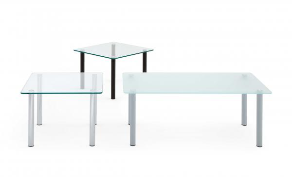 GLASS TABLES WITH ROUND LEGS
