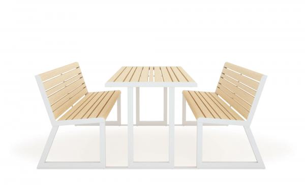 .H24 TABLE + INTEGRATED BENCHES