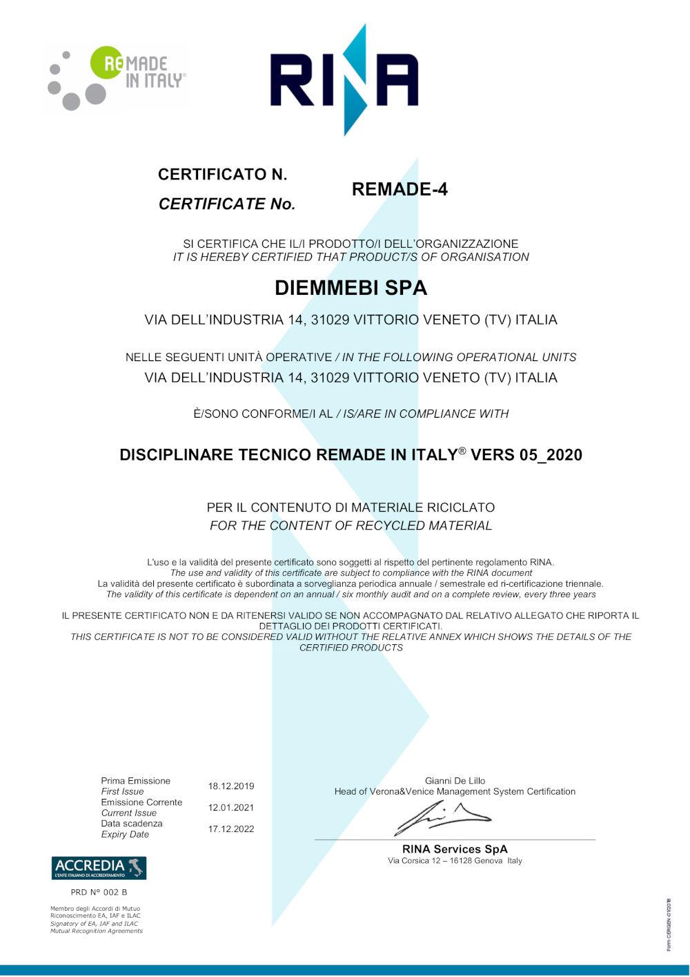 Certificato ReMade