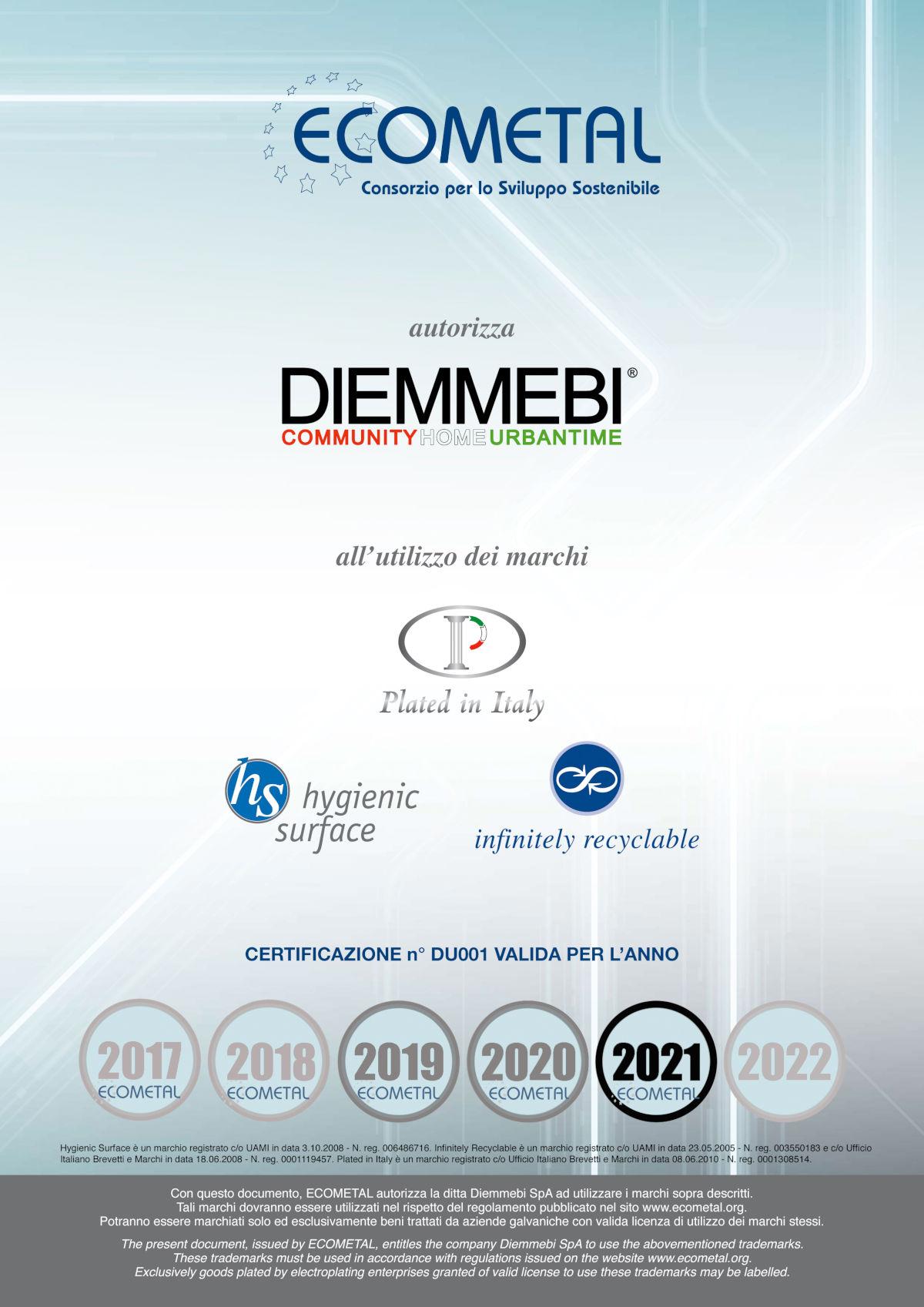 Certificato ECOMETAL