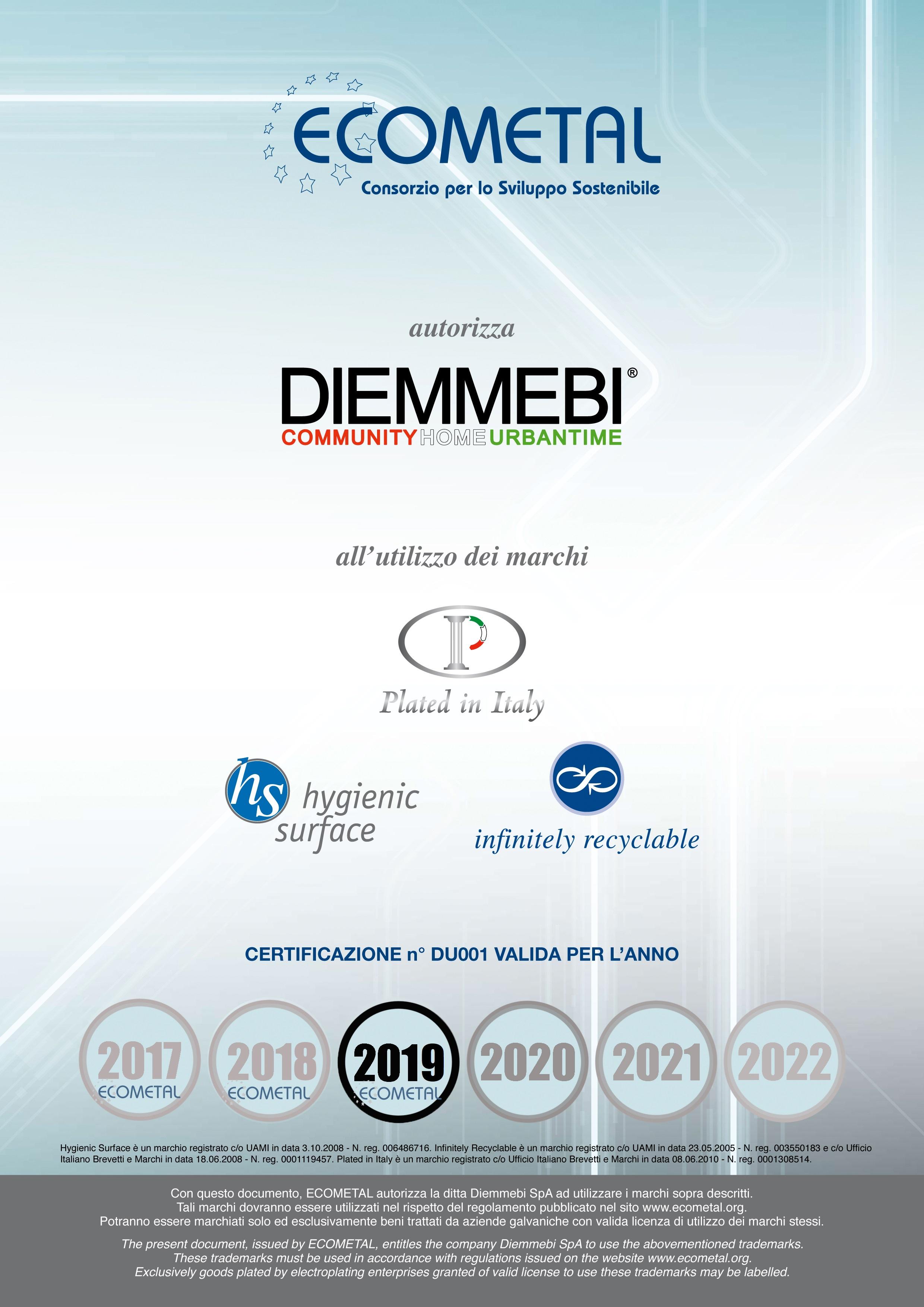 ECOMETAL Certificate